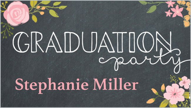 personalized graduation banner graduation party chalkboard roses