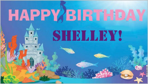 Underwater Mermaid Castle Personalized Banner