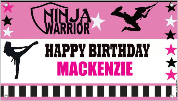 girl american ninja warrior birthday banner