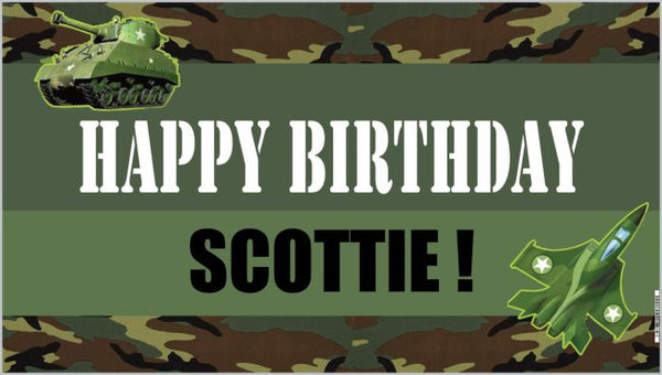 personalized army camp birthday banner