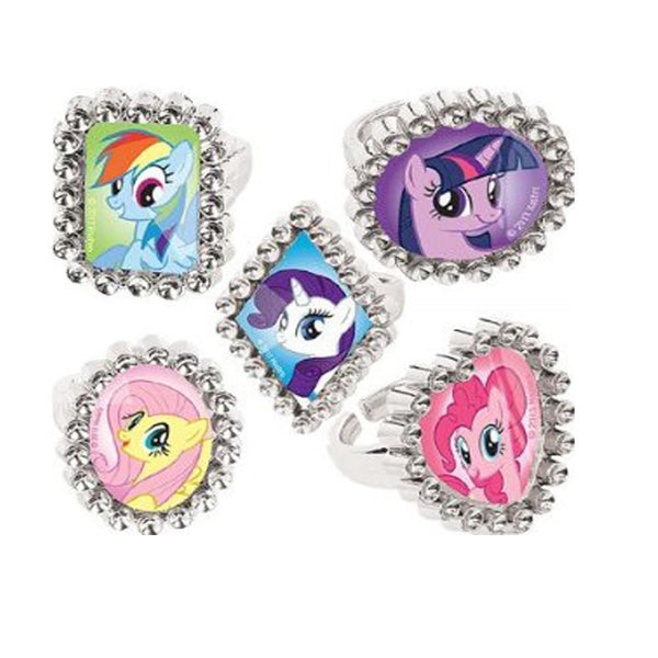 36 My Little Pony Plastic Silver Favor Rings