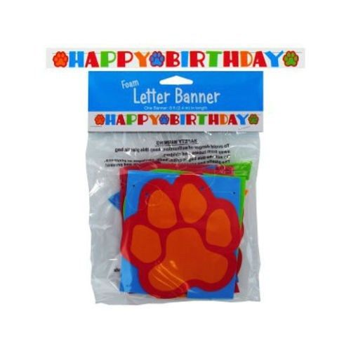 Puppy Dog Party Paw Banner - Happy Birthday