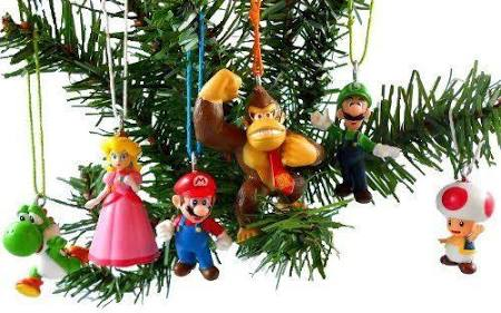 6 pc Super Mario Ornament Set
