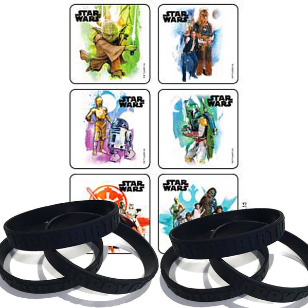 24 Star Wars Square Stickers & 12 Black Birthday Party Favor Wristbands