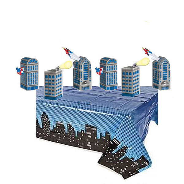 Superhero Skyline Plastic Table Cover & 6 Skyscraper Table Decoration Boxes