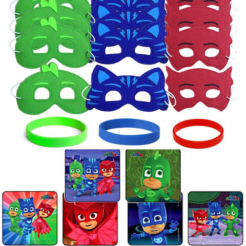 24 PJ Masks Party Favor Stickers, 12 Hero Masks & Wristbands
