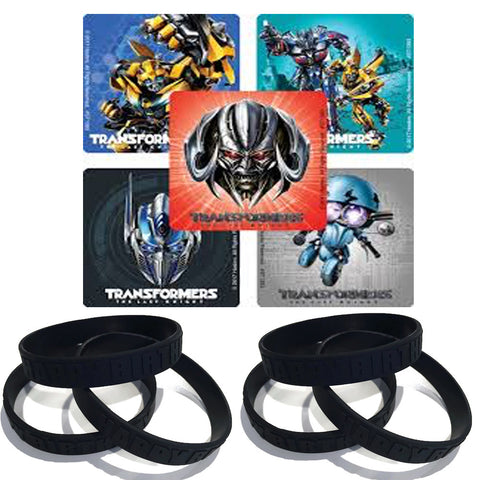 24 Transformers Party Stickers & 12 Black Youth Favor Wristbands