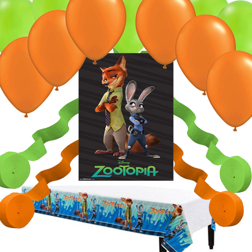 International Party Decorations Disney Zootopia Poster Balloon Streamer Tablecover Party