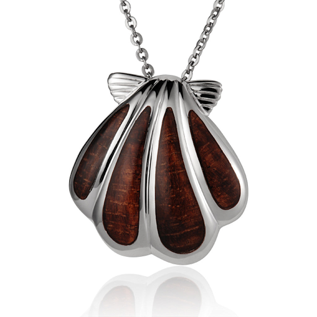Koa / Sterling  Silver - Sunrise Shell Pendant