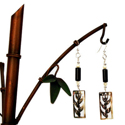 Mother of Pearl Heliconia with Black Obsidian