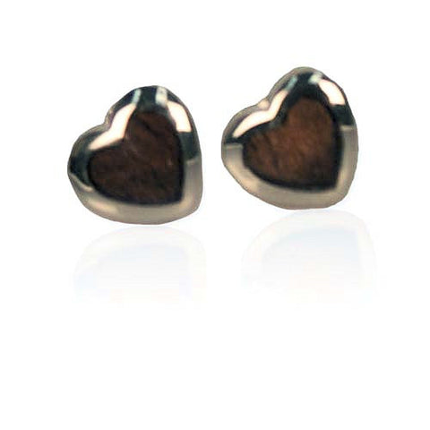 Koa / Sterling Silver - Heart Earrings
