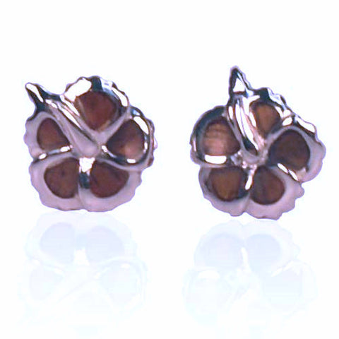 Koa / Sterling Silver - Hibiscus Earrings