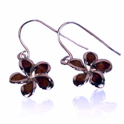 Koa / Sterling Silver - Plumeria Earrings