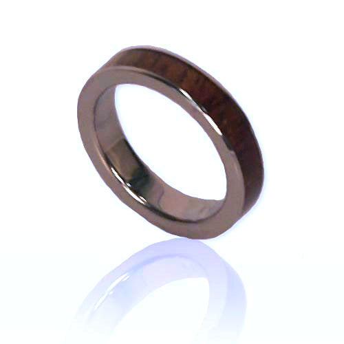 Koa / Silver - 4mm Barrel Ring