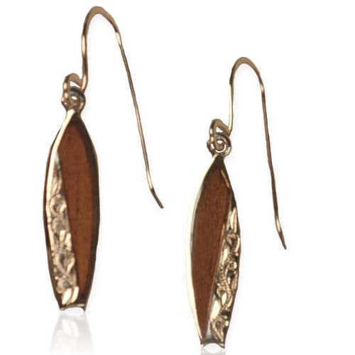 Koa / Sterling Silver - Surfboard Earrings
