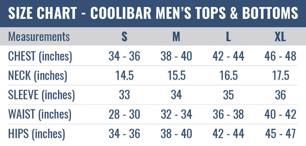 Size chart - Men's Coolibar Tops and Bottoms