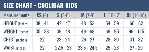 Size Chart for Coolibar Kids