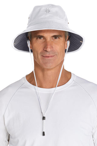 Your Boat Club - Coolibar Men's Featherweight Bucket Hat - white/carbon (blocks 98% of UVA/UVB)