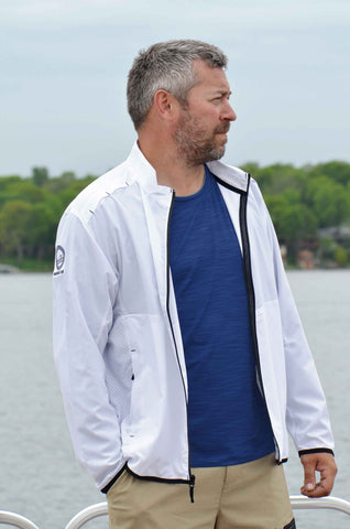 Your Boat Club - Coolibar Men's Packable Sunblock Jacket - white (blocks 98% OF UVA/UVB)
