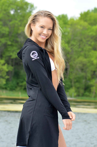 Your Boat Club - Coolibar Women's Cabana Hoodie - black (blocks 98% OF UVA/UVB)