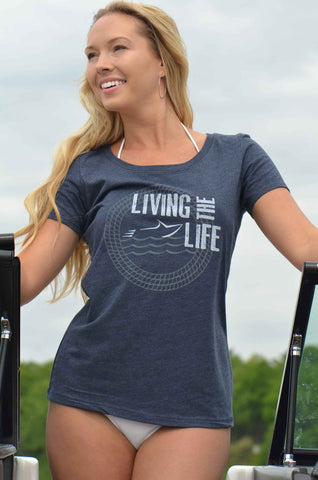 Your Boat Club - Women's Living the Boat Life Graphic Tee - vintage navy