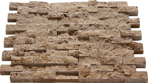 "1"" x 2"" Split Face Durango Noce Travertine Mosaic"
