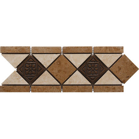 "Border 46F Durango Travertine Honed with Metal Insert 4.1"" x 11.8"""