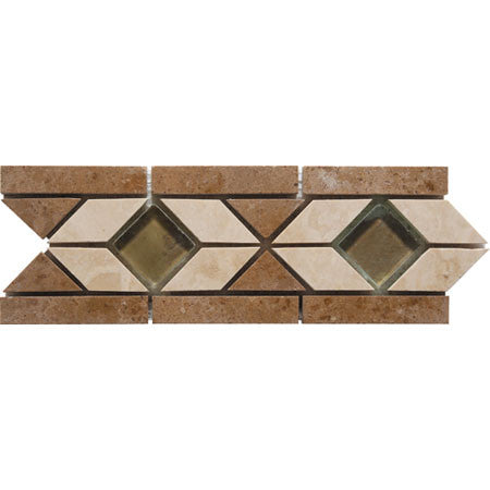 "Border 51F Durango Travertine Honed with Glass Insert 3.3"" x 9.6"""