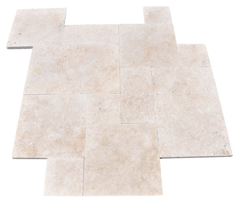 French Pattern Durango Light Travertine Tumbled Paver