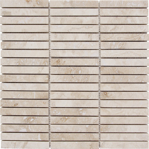 "5/8"" x 4"" Durango Light Travertine Mosaic Honed"