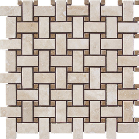 Basketweave Durango Light Travertine with Noce dots Mosaic Honed