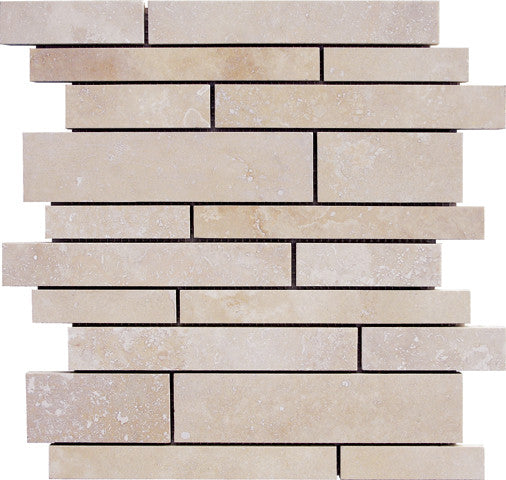 Stripbar Durango Light Travertine Mosaic Honed