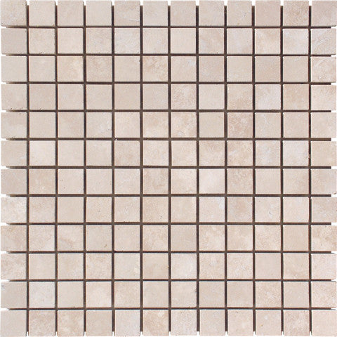 "1"" x 1"" Durango Light Travertine Mosaic Honed"