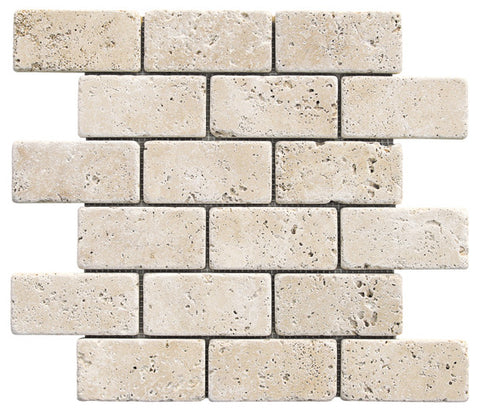 "2"" x 4"" Durango Light Travertine Mosaic Tumbled"