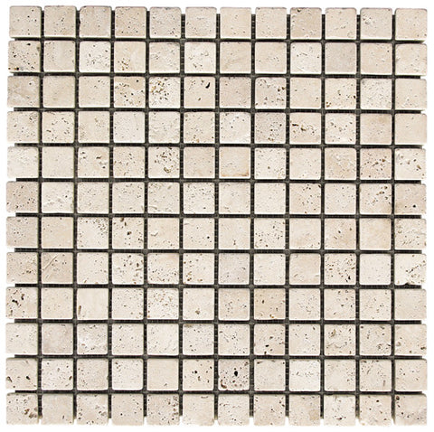 "1"" x 1"" Durango Light Travertine Mosaic Tumbled"