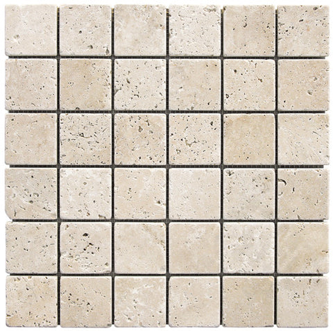 "2"" x 2"" Durango Light Travertine Mosaic Tumbled"