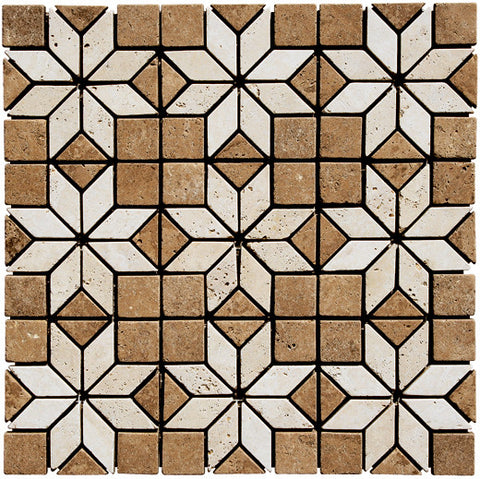 "Deco star Durango Travertine and Noce Tumbled 4""x4"""