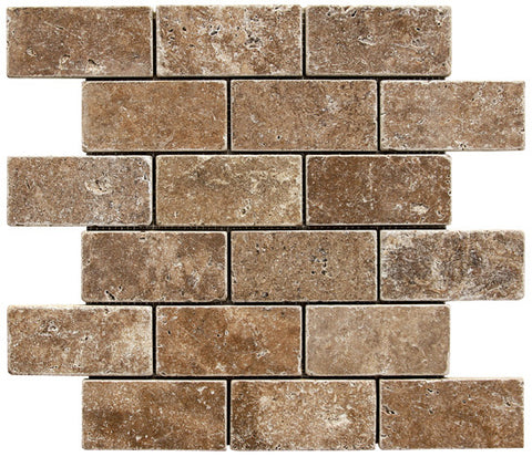 "2"" x 4"" Durango Noce Travertine Mosaic Tumbled"