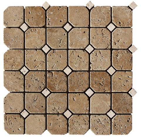 Hexagon Noce Travertine Mosaic with Noce Dots Tumbled