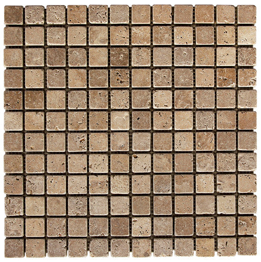 "1"" x 1"" Durango Noce Travertine Mosaic Tumbled"