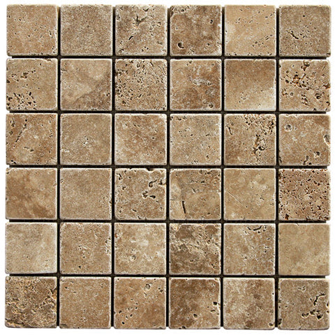 "2"" x 2"" Durango Noce Travertine Mosaic Tumbled"