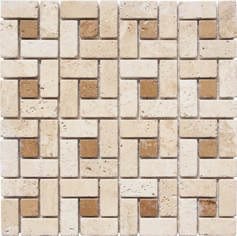 TicTac Durango Travertine Mosaic with Noce Dots Tumbled