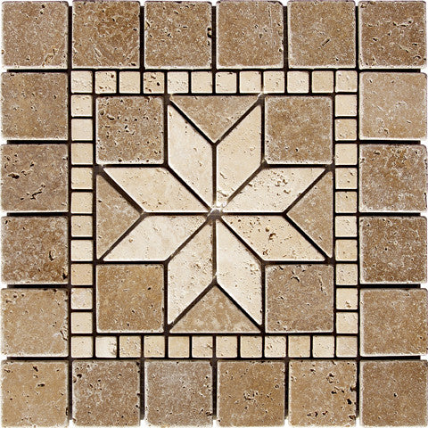 Medallion Star Noce Travertine Tumbled