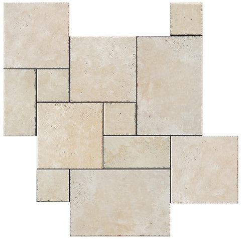 French Pattern Durango Travertine Tile Brushed & Chiseled