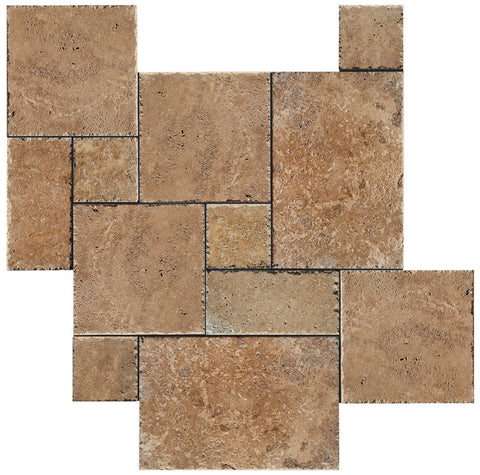 French Pattern Noce Travertine Tile Brushed & Chiseled