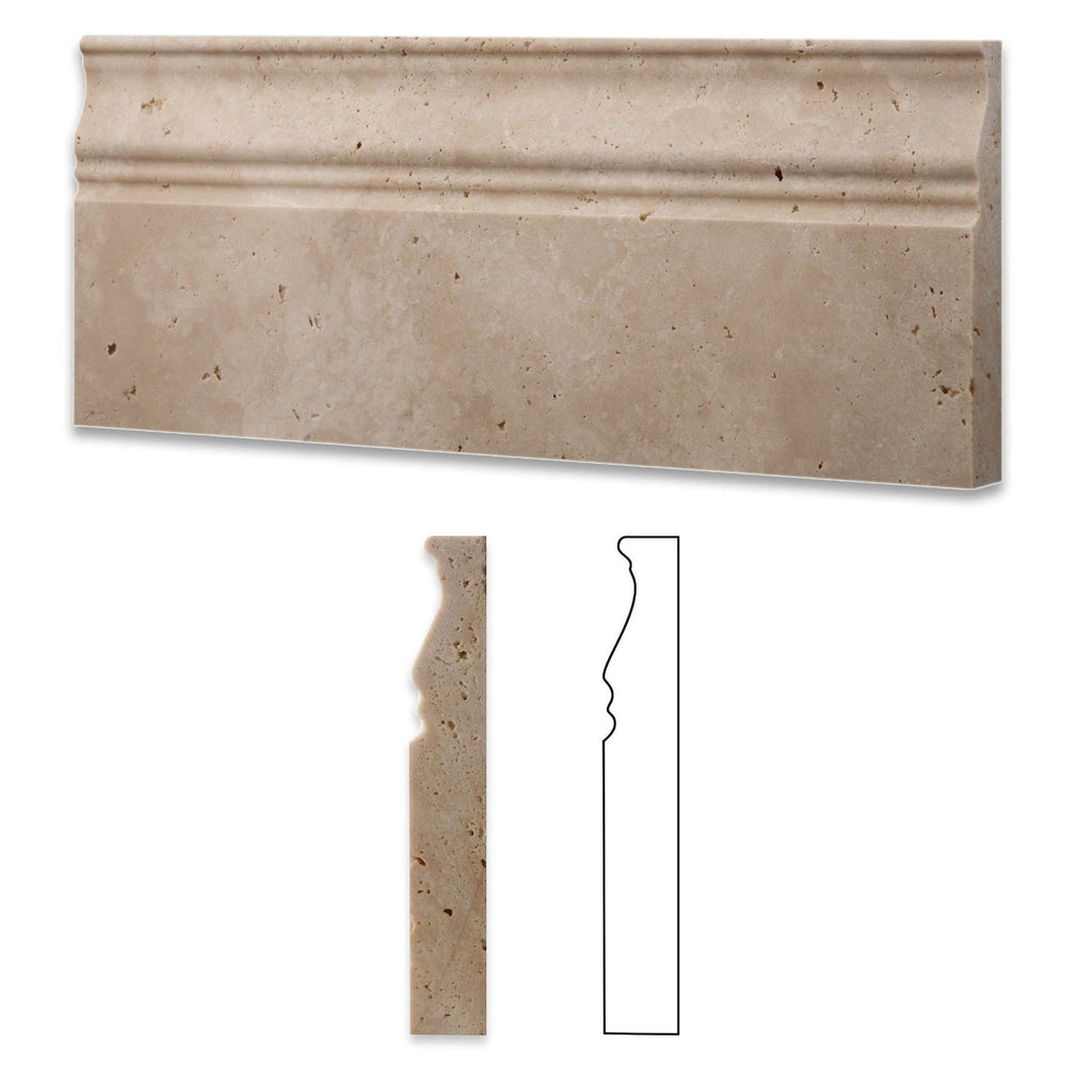 "Baseboard Durango Travertine Honed 5""x12"""