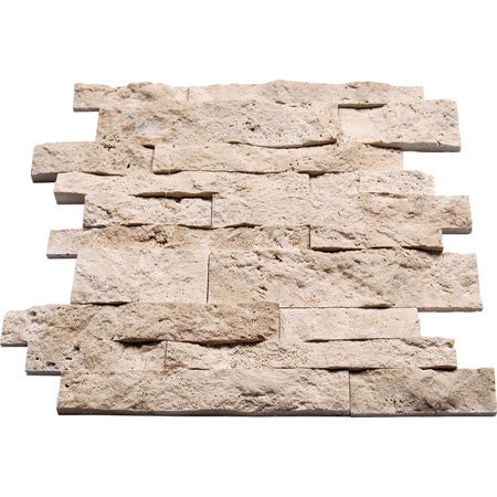 Splitface Stripbar Durango Light Travertine Mosaic