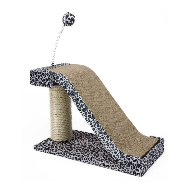 Cat Scratching Post And Pad With Toy Leopard Print - Cat Furniture