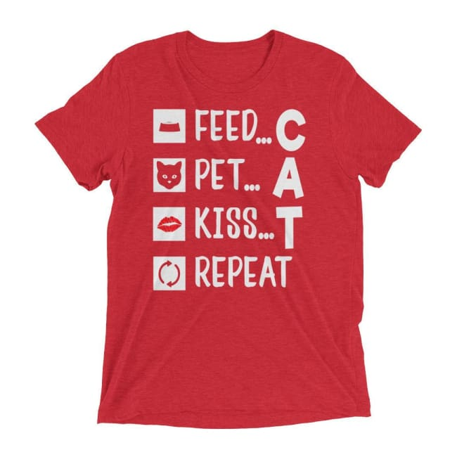 Cat T Shirt Feed Pet Kiss Repeat - Red Triblend / Xs