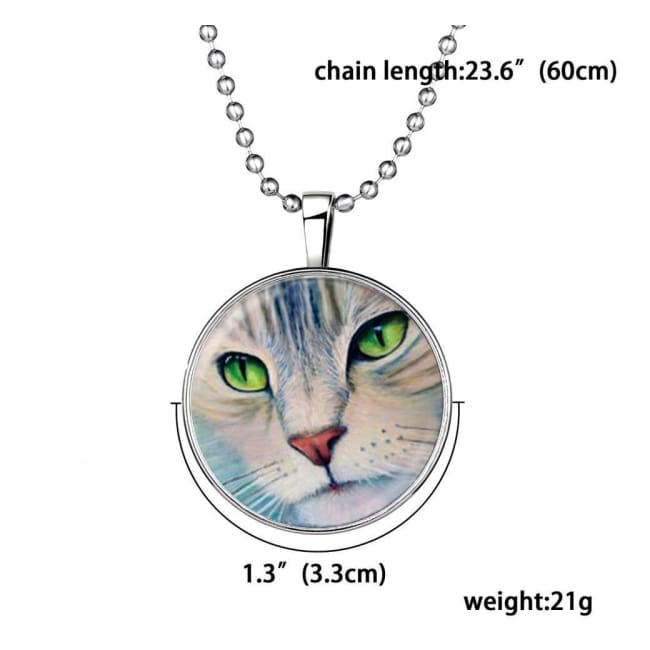 Glow In The Dark Kitty Cat Pendant & Necklace - Necklace